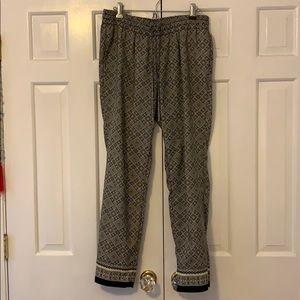 Pull-on geometric pattern pants